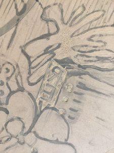 détails de la gravure, dessins et traits gravés